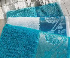 Set 3 prosoape 50x90 cm Turquoise-White-Blue