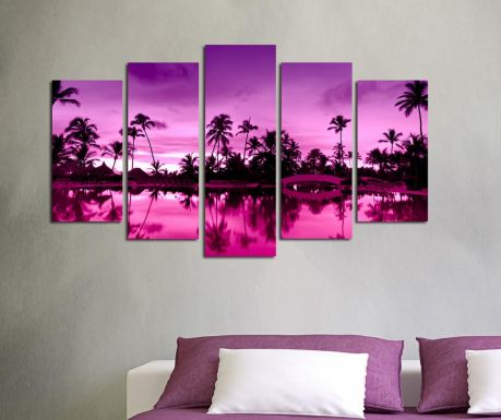 Set 5 tablouri Purple Palm