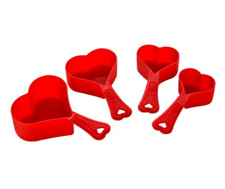 Set 4 merilnih skodelic Heart Red