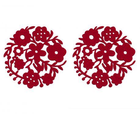 Zestaw 2 podkładek stołowych Red Flower 25 cm