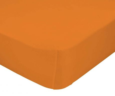 Cearsaf de pat cu elastic Basic Orange 90x200 cm