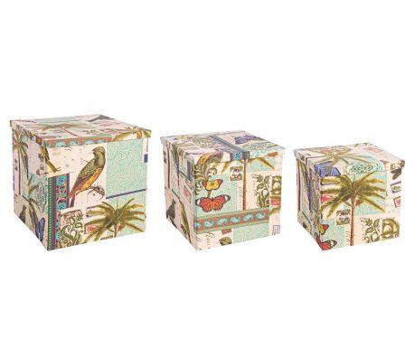 Set 3 kutije  za pohranu sa poklopcem Cuban Flora