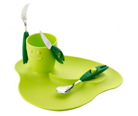 Детски комплект за хранене 5 части Party Green