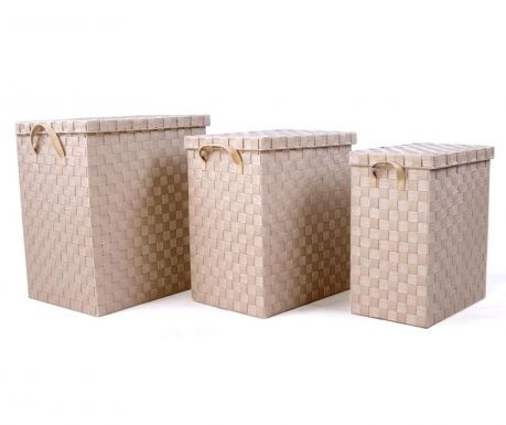 Zestaw 3 koszyki z pokrywką Cloth Beige