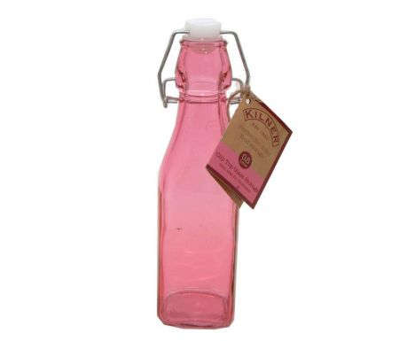 Bottle with airtight stopper Kilner Clip Square Pink 250 ml