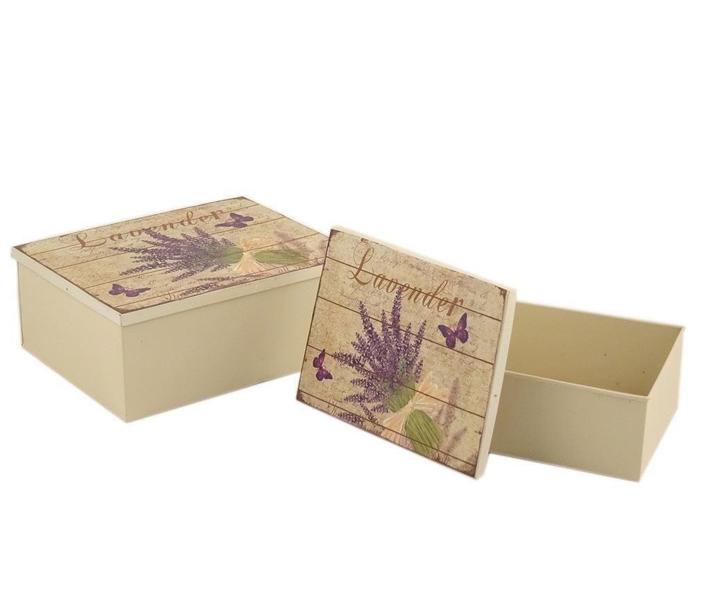 Set 2 cutii cu capac Lavender Bouquet Rectangle