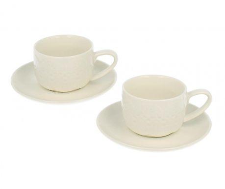 Set 2 šalice i 2 tanjurića Lace Elegant Espresso