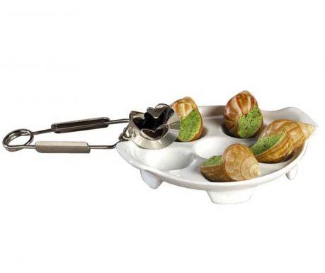 Комплект за сервиране на охлюви 2 части Escargot