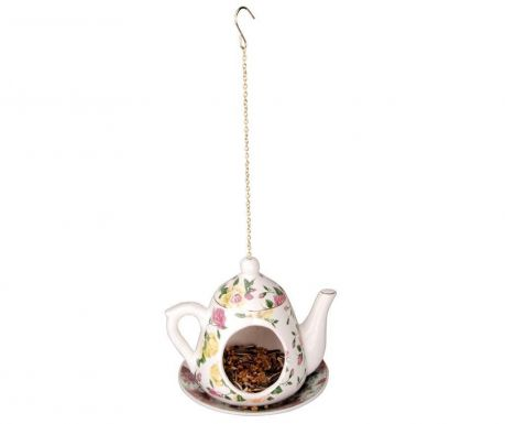 Hranilica za ptice Teapot Yellow Pink Roses