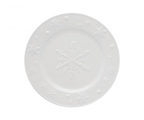 Talerz deserowy Snowflakes White