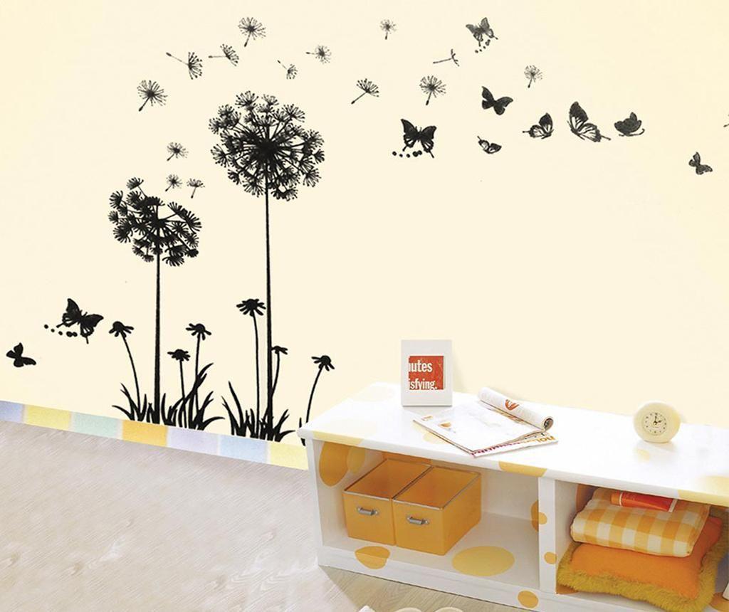 Sticker Dandelion Butterflies Black