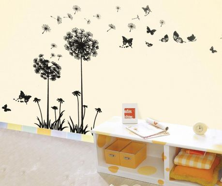 Naklejka Dandelion Butterflies Black