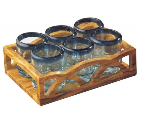 Set of 6 glasses and serving tray Country