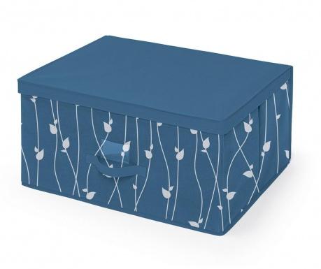 Skladovacia krabica s vekom Leaves Blue L