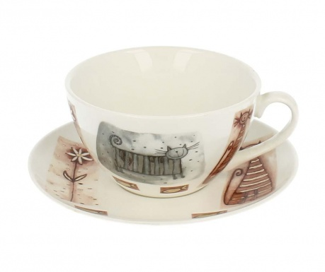 Комплект чашка и чинийка Georgia Cat