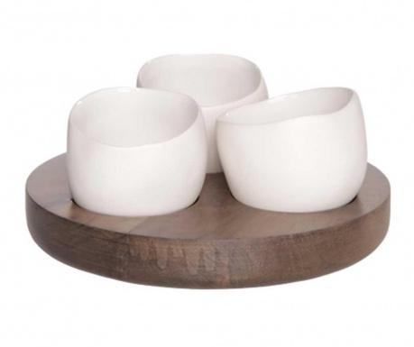 Set 3 boluri pentru aperitive si suport White