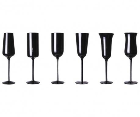 Сервиз 6 чаши за шампанско Clarity Black 200 мл