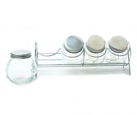Silvery Lines 3 db Befőttesüveg fedővel és tartó