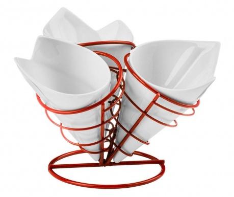 Zestaw 3 pojemników na frytki ze stojakiem French Fry Cone Red