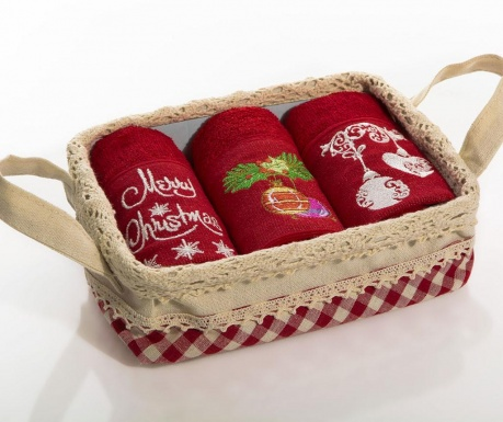 Set 3 prosoape de bucatarie in cos Merry Christmas Bells 30x50 cm