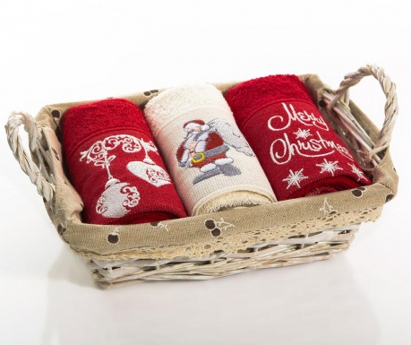 Set of 3 kitchen towels in basket Christmas Bell  Santa 30x50 cm