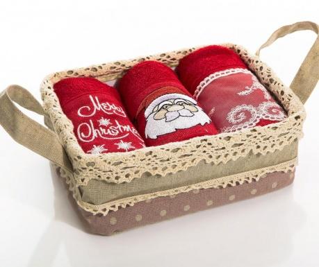Set 3 prosoape de bucatarie in cos Christmas Santa Curls 30x50 cm