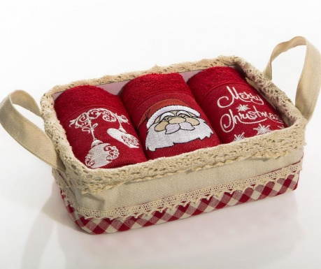 Set 3 prosoape de bucatarie in cos Santa Christmas Bell 30x50 cm