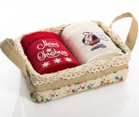 Set 2 prosoape de baie in cos Christmas Santa  40x60 cm