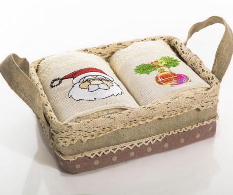 Set 2 brisač v košarici Santa Mistletoe 40x60 cm
