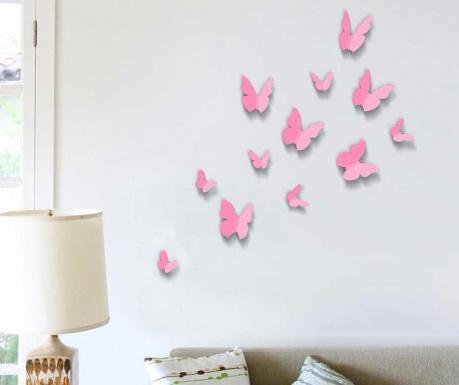 Set 12 stickere 3D Butterflies Pink