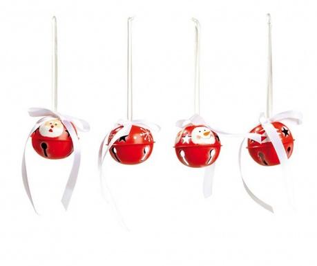 Set 8 visečih dekoracij Red Jingle Spirit