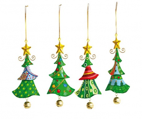 Set 4 visečih dekoracij Jingle Tree