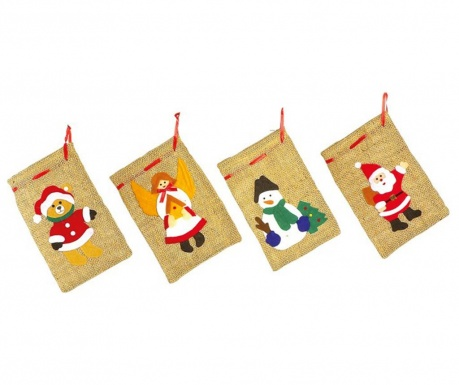 Set 4 dekorativnih vrečk Chistmas Spirit