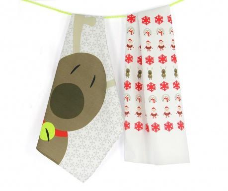 Christmas Reindeer 2 db Konyhai törölköző 50x70 cm