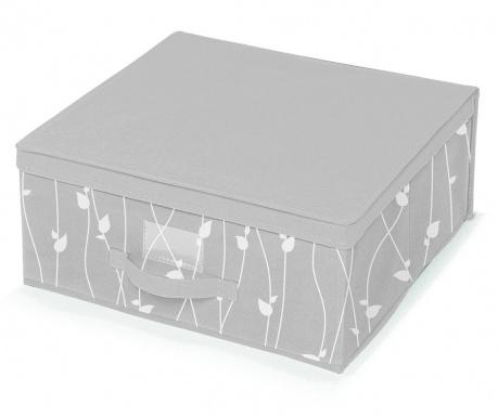 Úložná krabica s vekom Leaves Grey M