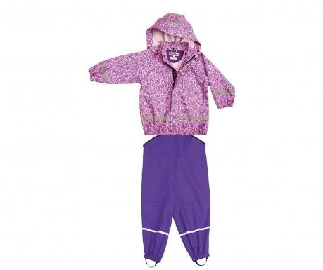 Σετ παιδική αδιάβροχη ζακέτα και σαλοπέτα Bimo Mauve