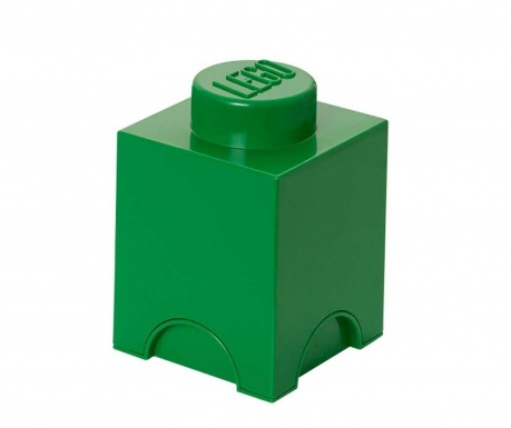 Kutija za pohranu s poklopcem Lego Square Dark Green