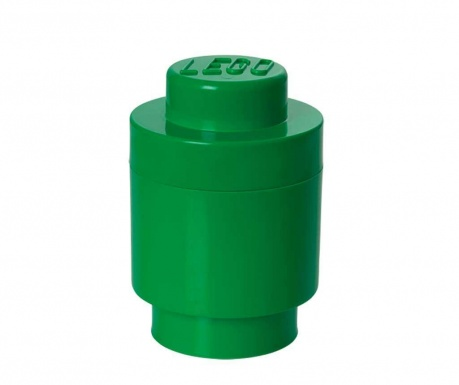 Kutija za pohranu s poklopcem Lego Round Dark Green