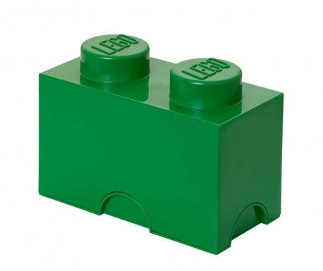 Kutija za pohranu s poklopcem Lego Rectangular Dark Green