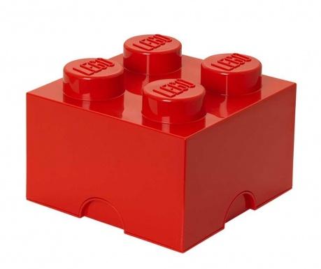 Kutija za pohranu s poklopcem Lego Square Four Red