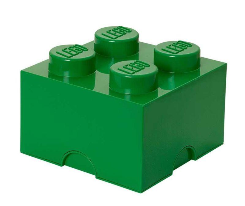 Škatla s pokrovom Lego Square Four Dark Green