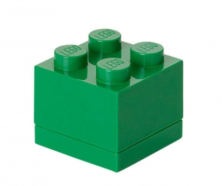 Кутия с капак Lego Mini Square Dark Green