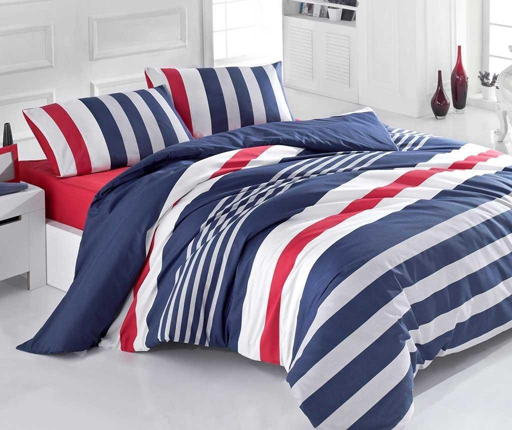 Set posteljina King Ranforce Stripe Dark Blue Red 200x220
