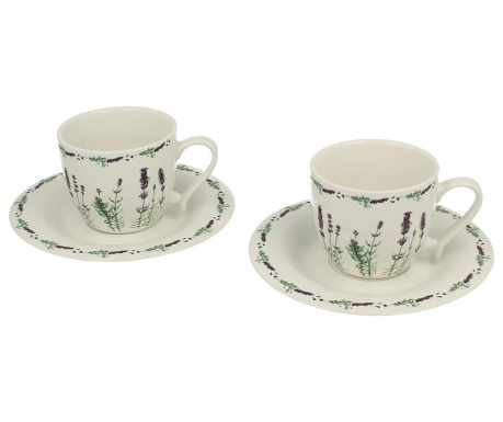 Set of 2 cups and 2 saucers Lavender White