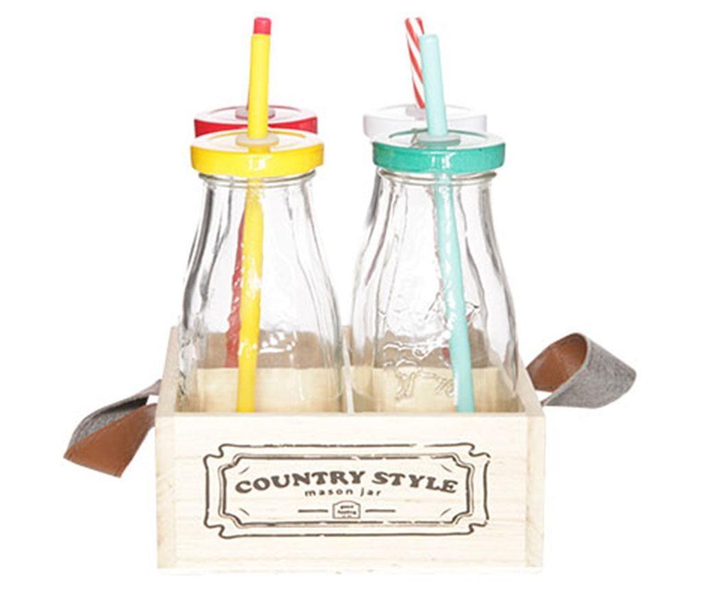 Country Style Multicolor 4 db Üvegpalack kupakkal, szívószállal és tartóval