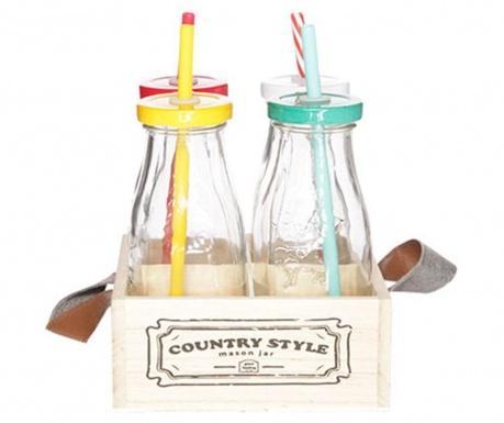 Set 4 boce s  poklopcem, slamkom i držačem Country Style Multicolor