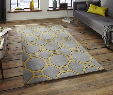 Covor Hong Kong Hexagon Grey Yellow