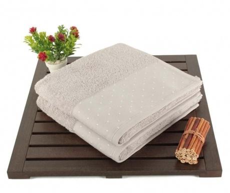 Zestaw 2 ręczników kąpielowych Polka Dots Light Grey 50x90 cm