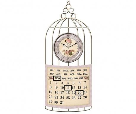 Nástěnné hodiny s kalendářem Birdcage