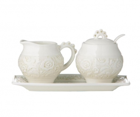 Set of milk jug and sugar bowl with serving tray Georgia